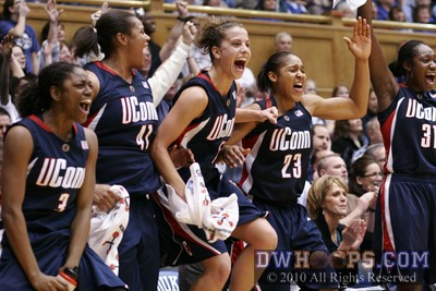 UConn starters including Maya Moore celebrate in Cameron in 2010..