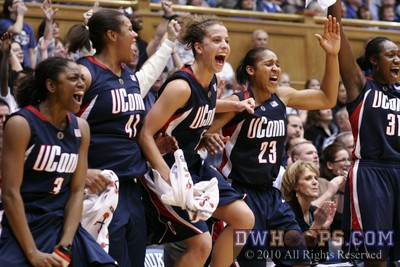 UConn's starters spent the end of last year's blowout win on the Cameron bench, cheering for the Huskies reserves.