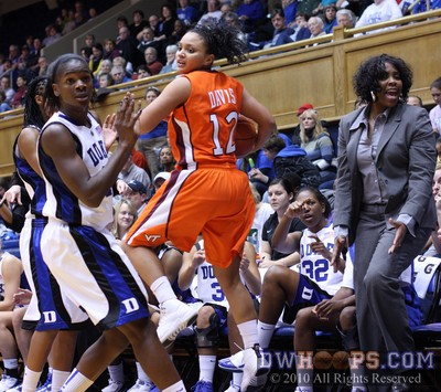 Jackson and Mitchell force a Nikki Davis turnover in front of the Duke bench