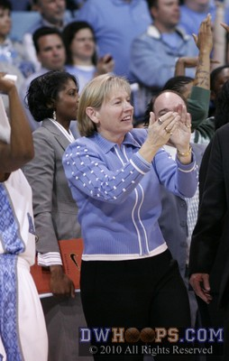 Sylvia Hatchell celebrates the 2010 UNC win over Duke -- the Blue Devils failed to score from the field in the last 6:53.