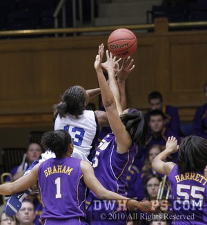 Karima Christmas drives and is fouled by Lasondra Barrett