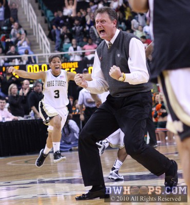 Wake Forest Head Coach Mike Petersen celebrates an overtime win over Miami in the 2010 ACC Tournament.