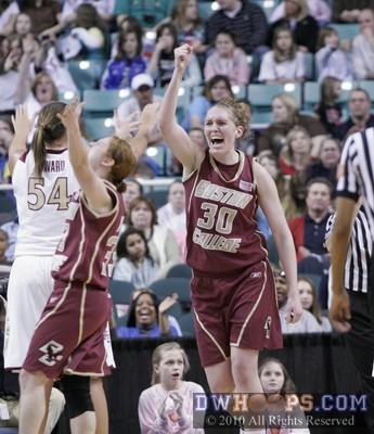 Carolyn Swords (right) celebrates BC's 2010 ACC Quarterfinal upset victory.  The seventh seeded Eagles eliminated second seed Florida State, 67-60.