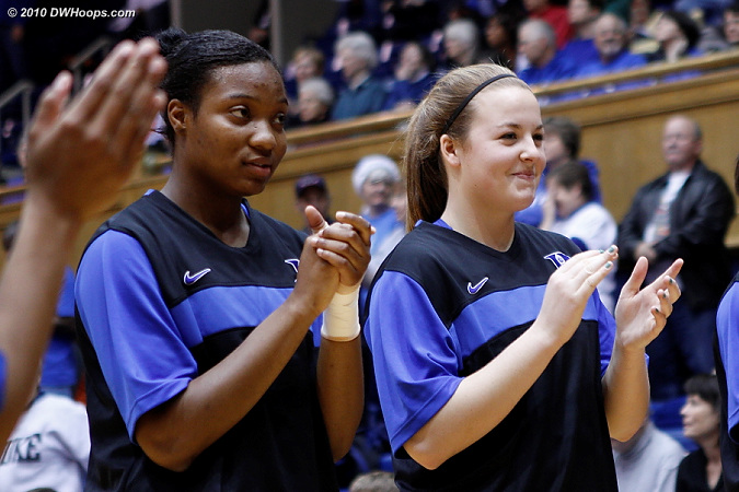 Jackson and Liston during pregame intros  - Duke Tags: #15 Richa Jackson, #32 Tricia Liston
