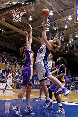 Tricia Liston was not afraid to go inside, a career high resulted.  - Duke Tags: #32 Tricia Liston