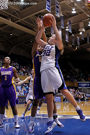 Liston goes to the hoop again, this time fouled.  - Duke Tags: #32 Tricia Liston