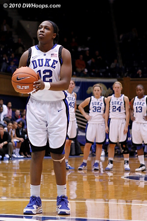 Chelsea Gray alone on the line, taking (and missing) both technical free throws.  - Duke Tags: #12 Chelsea Gray