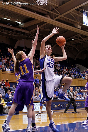 Allison Vernerey tries a left handed shot against Julie Forster.  - Duke Tags: #43 Allison Vernerey