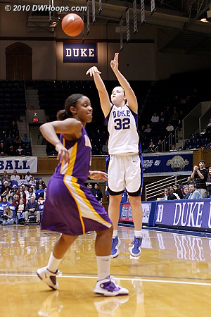 Tricia Liston found confidence from three point range, draining three of four.  - Duke Tags: #32 Tricia Liston