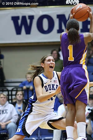 Allison Vernerey reacts to a three point attempt by Cassandra Callaway.  - Duke Tags: #43 Allison Vernerey