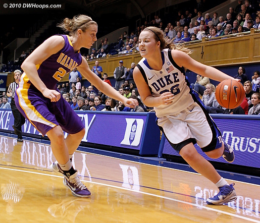 Tricia Liston drives on Kate Cronin  - Duke Tags: #32 Tricia Liston