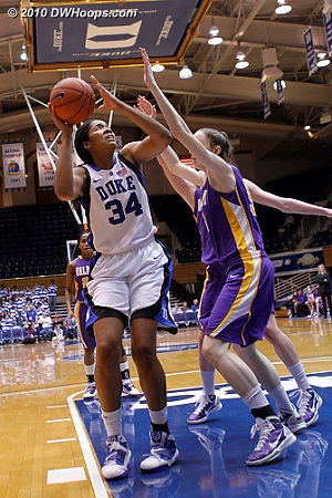 Krystal Thomas eyes the basket in the second half.  - Duke Tags: #34 Krystal Thomas