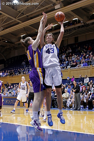 Allison Vernerey puts up a shot in the paint during a second half Blue Devil spurt.  - Duke Tags: #43 Allison Vernerey