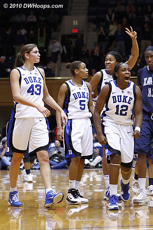 Duke celebrates Jasmine Thomas being sent to the line for two, with 2.5 seconds and the game tied.  - Duke Tags: #5 Jasmine Thomas, #12 Chelsea Gray, #34 Krystal Thomas, #43 Allison Vernerey