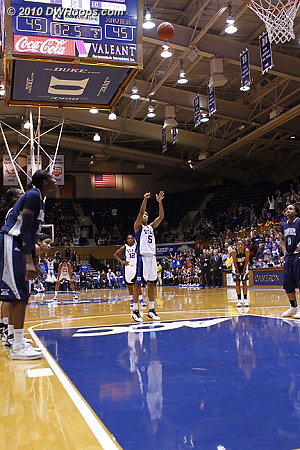 Free throw #1 is up... no good.  - Duke Tags: #5 Jasmine Thomas