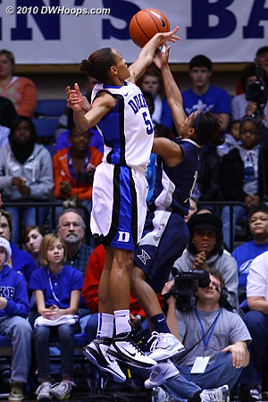 Jasmine Thomas fouls Special Jennings in the first half  - Duke Tags: #5 Jasmine Thomas
