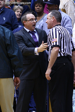 Xavier Assistant Mike Neighbors confronts one of the officials after time has expired.