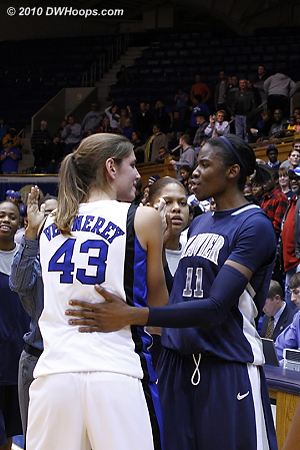 Allison Vernerey and Amber Harris meet in the handshake line; their battles in the paint were truly remarkable.  - Duke Tags: #43 Allison Vernerey