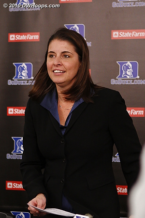 Coach P enters the media room.  - Duke Tags: Joanne P. McCallie
