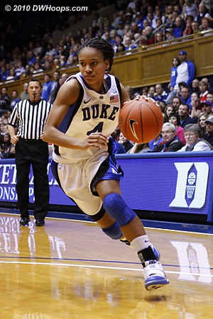 Chloe Wells drives towards the paint.  - Duke Tags: #4 Chloe Wells