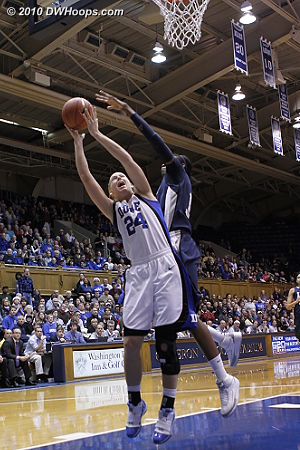 Amber Harris blocks Kathleen Scheer on Duke's first possession  - Duke Tags: #24 Kathleen Scheer