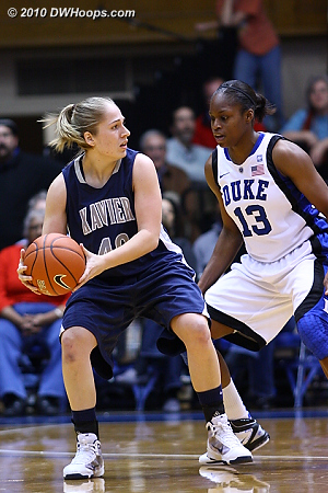 Karima Christmas guards three point specialist Katie Rutan  - Duke Tags: #13 Karima Christmas
