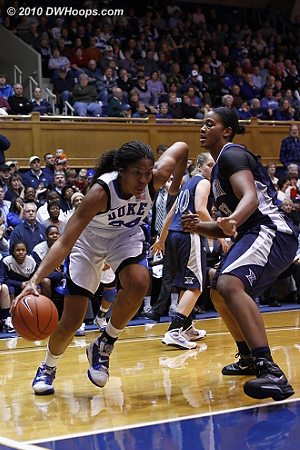 Krystal Thomas drives the baseline  - Duke Tags: #34 Krystal Thomas