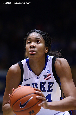 Krystal Thomas at the line, putting Duke up 21-20.  - Duke Tags: #34 Krystal Thomas