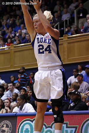 Scheer fires a three point miss -- Duke started 2-3 from behind the arc, then missed its last twelve treys.  - Duke Tags: #24 Kathleen Scheer