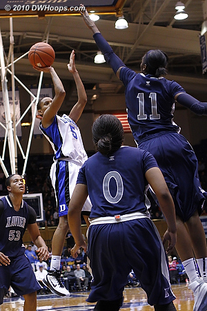 Jasmine gets things going with a jumper to cut the deficit to six.  - Duke Tags: #5 Jasmine Thomas