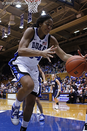 A loose ball just out of the reach of Krystal Thomas.  - Duke Tags: #34 Krystal Thomas