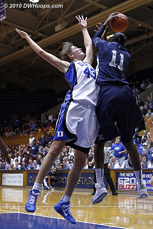Amber Harris grabs a rebound.  - Duke Tags: #43 Allison Vernerey