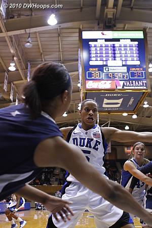 Jas and Allison intense in Duke's full court press off the made basket.  - Duke Tags: #5 Jasmine Thomas