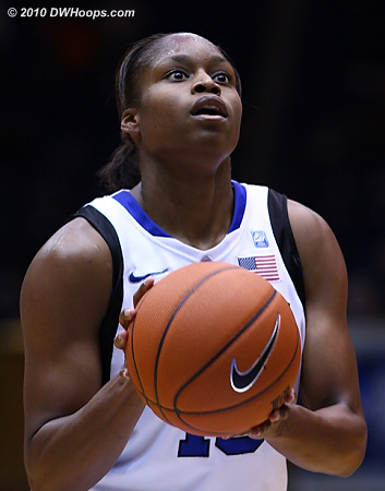 Karima Christmas on the line, her miss extended a then five minute Blue Devil scoring drought.