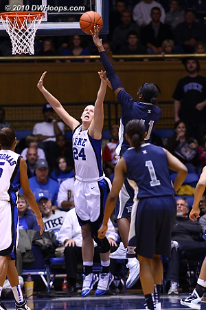 Amber Harris was whistled for an offensive foul before this shot.