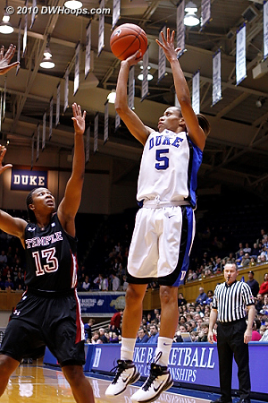 Jasmine Thomas shoots from the corner, she was 2-8 in a first half where a large Duke lead evaporated.  - Duke Tags: #5 Jasmine Thomas