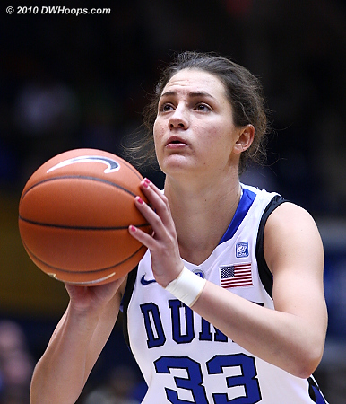 Haley Peters on the line for a traditional three point play, putting Duke put 14-11.  - Duke Tags: #33 Haley Peters
