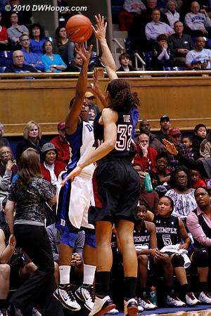This Wells trey gave Duke its largest lead of the first half, 23-15.  - Duke Tags: #4 Chloe Wells