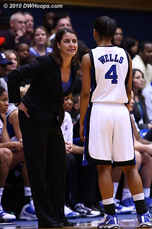 Duke Head Coach Joanne P. McCallie seeks explanation from freshman guard Chloe Wells during a 7-0 Temple run.  - Duke Tags: Joanne P. McCallie