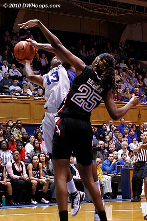 Karima Christmas is fouled by Victoria Macaulay.  - Duke Tags: #13 Karima Christmas