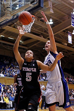 Haley Peters battles Temple's Kristen Mccarthy for a loose ball.  - Duke Tags: #33 Haley Peters
