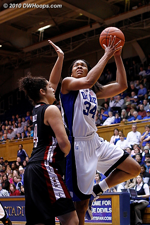 Krystal Thomas takes a layup over Joelle Connelly.  - Duke Tags: #34 Krystal Thomas