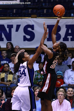 Krystal Thomas with tough D on Temple center Victoria Maccaulay, who would foul out without scoring.  - Duke Tags: #34 Krystal Thomas