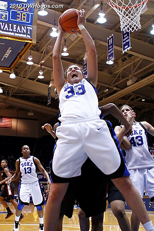 Haley Peters grabs a rebound right in front of my position (1 of 2)  - Duke Tags: #33 Haley Peters