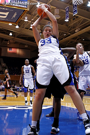 Haley Peters grabs a rebound right in front of my position (2 of 2)  - Duke Tags: #33 Haley Peters
