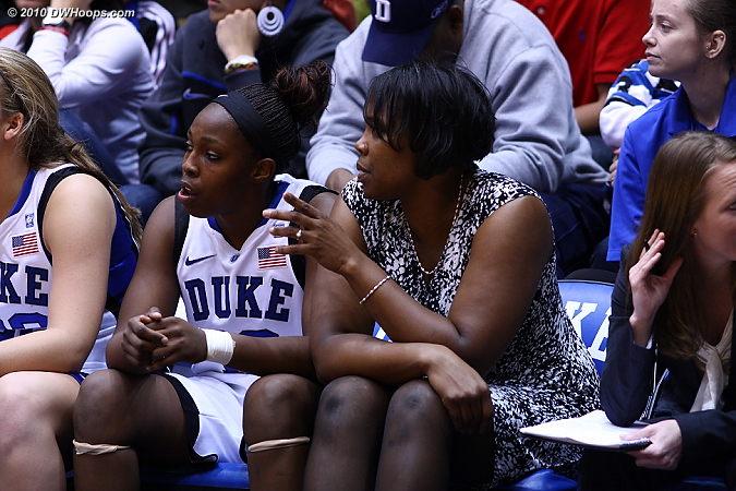 Assistant Coach Tricia Stafford-Odom has some guidance for Chelsea Gray after her fourth foul.  - Duke Tags: #12 Chelsea Gray, Trisha Stafford-Odom
