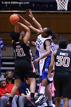 Karima Christmas gets a clean block of Nikki Works.  - Duke Tags: #13 Karima Christmas