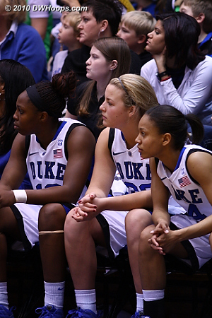 Three of the freshmen watch from the Blue Devil bench as Duke's lead dwindles.
