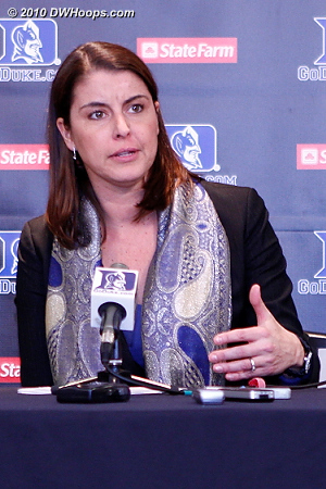 Coach P said that she was unhappy at Duke being outrebounded again.