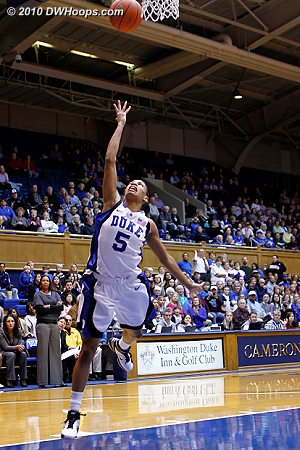 Jasmine Thomas finishes a layup attempt.  - Duke Tags: #5 Jasmine Thomas